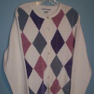 XL Alfred Dunner Button Up Argile Sweater